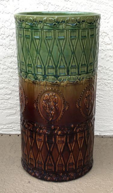 antique majolica art pottery umbrella stand | chairish Pottery Umbrella Stand