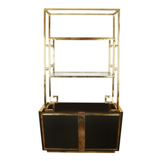 Black Mastercraft Brass and Glass Vintage Etagere Cabinet For Sale