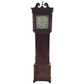 19th Century Flame Mahogany J Carr Garstang Grandfather Clock For Sale