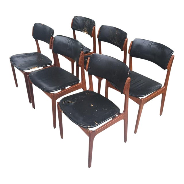Erik Buck for Povl Dinesen Cabinetmaker Teak Leather Dining Chairs - Set of 6 - Image 1 of 4