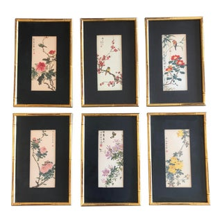 Set of 6 Vintage Original Chinese Wood Block Prints Bird& Flowers For Sale