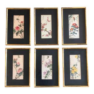 Set of 6 Vintage Original Chinese Wood Block Prints Bird& Flowers For Sale