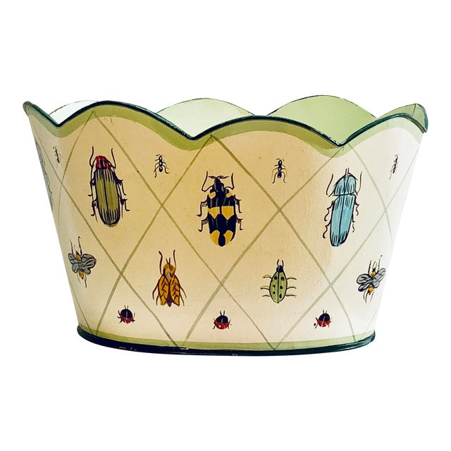 Vintage Tole Painted Insect Motif Scalloped Edge Metal Planter For Sale