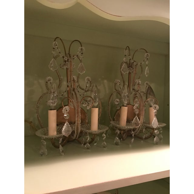 French 2-Light Candelabra Crystal Wall Sconces - A Pair For Sale - Image 4 of 4