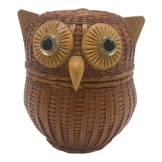 Vintage Woven Cane Owl Basket For Sale