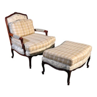 French Louis XV Style Walnut Taylor King Bergere Chair and Ottoman Toile Gingham For Sale