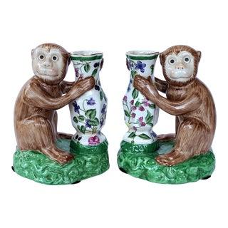 Majolica Monkeys Holding Vases - a Pair For Sale