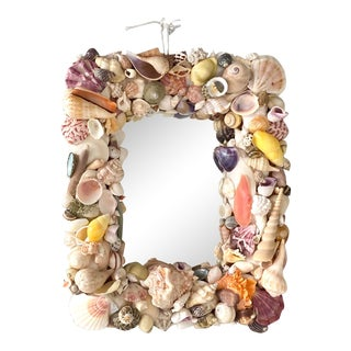 Vintage Coastal Small Shell Mirror For Sale