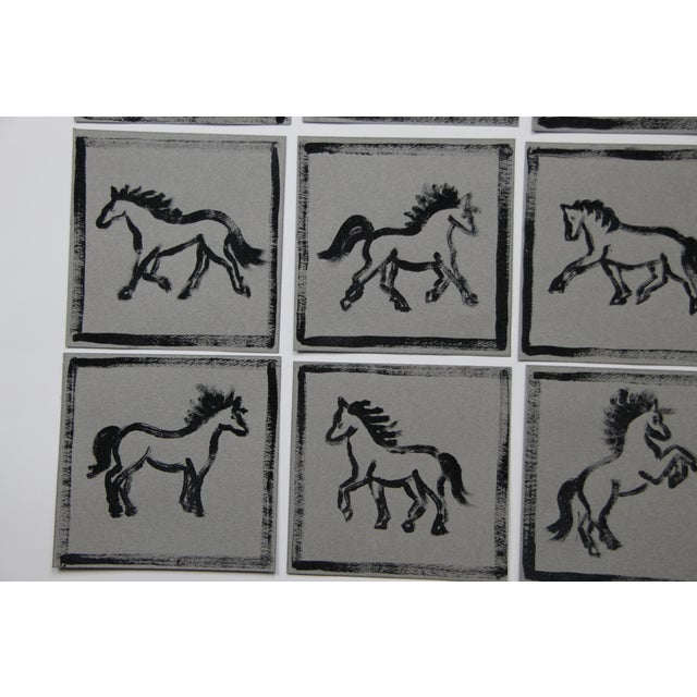 Minimalist Horse Paintings Set of 9 by Cleo Plowden For Sale In New York - Image 6 of 8
