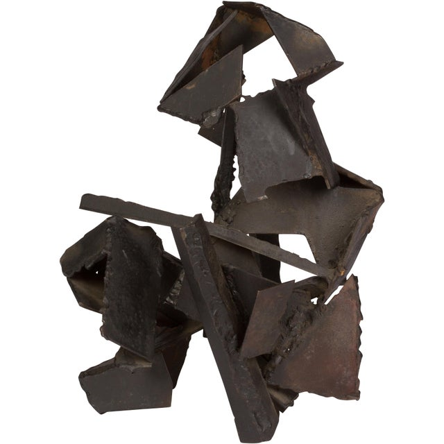 1970s Brutalist Style Abstract Metal Sculpture For Sale - Image 5 of 5
