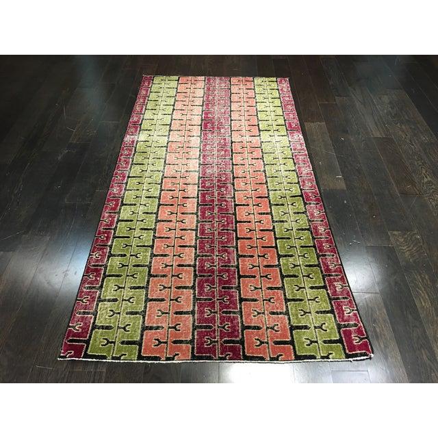 """Bellwether Rugs Two Zeki Muren Vintage Distressed Look Turkish Rugs - 3'5"""" X 6'10"""" - Image 3 of 8"""