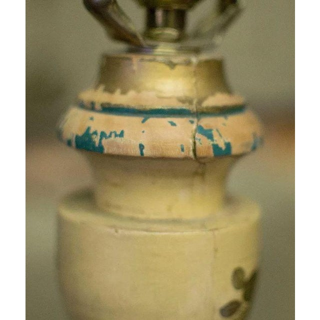 Chinoiserie Paint Decorated Wooden Floor Pole Lamp For Sale - Image 6 of 10