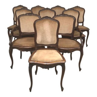 Antique French Louis XV Walnut Dining Chairs - Set of 10 For Sale