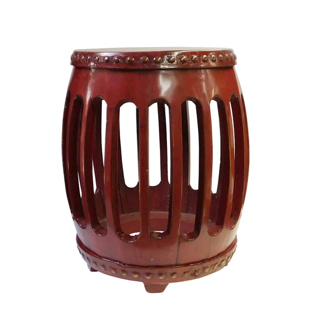 Chinese Red Round Barrel Wood Stools - Pair - Image 6 of 7
