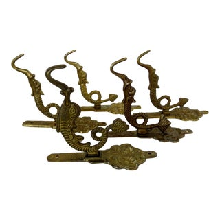 Brass Dolphin Hooks, Set of 5 For Sale