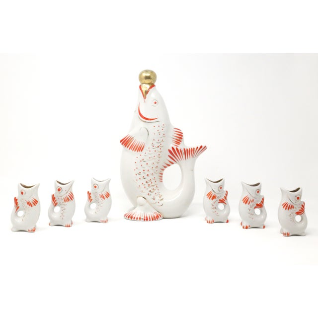 Vintage Porcelain Hand Painted Koi Fish Sake Decanter and Cups - Signed and Numbered - Set of 7 For Sale - Image 10 of 10
