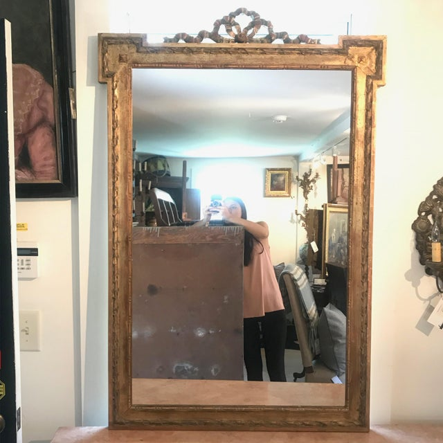 Large French Antique Giltwood Mirror With Ribbon Bow For Sale - Image 12 of 12