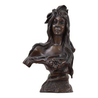 "Early 20th Century Antique ""Bohemienne"" Bronze Bust of Woman Sculpture For Sale"