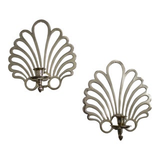 French Art Deco Brass Candle Sconces - a Pair For Sale
