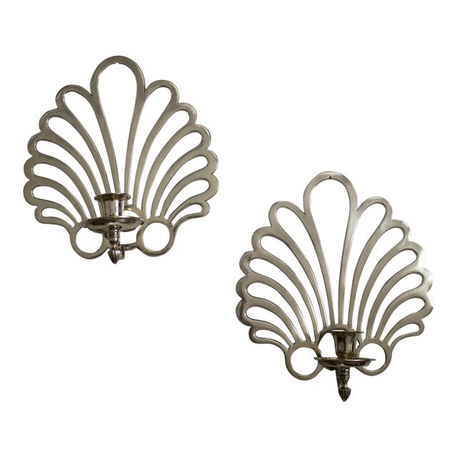 Image of French Art Deco Brass Candle Sconces - a Pair