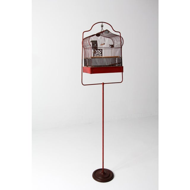 Antique Crown Bird Cage With Stand For Sale - Image 10 of 10