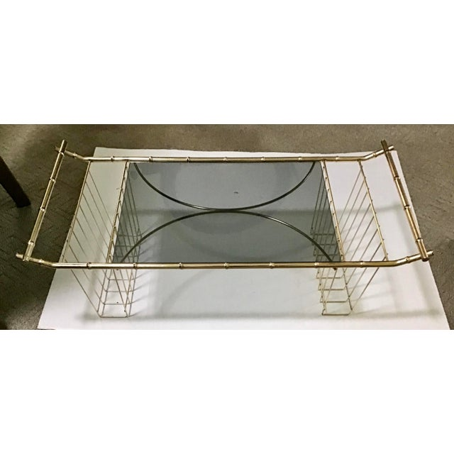Metal Mid-Century Faux Bamboo Brass Bed Tray Magazine Rack For Sale - Image 7 of 9