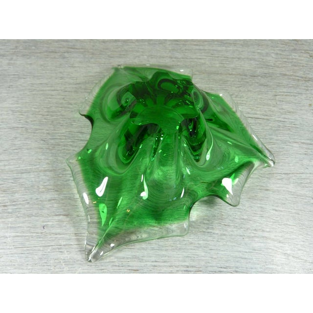 Murano Transparent & Green Holly Leaf Murano Christmas Bowl For Sale - Image 4 of 4