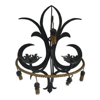 Wrought Iron Candle Sconce With Gilt Tassel Accents