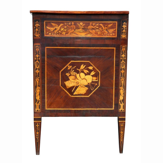 Italian Neoclassic Marquetry Inlaid Commode For Sale - Image 11 of 13