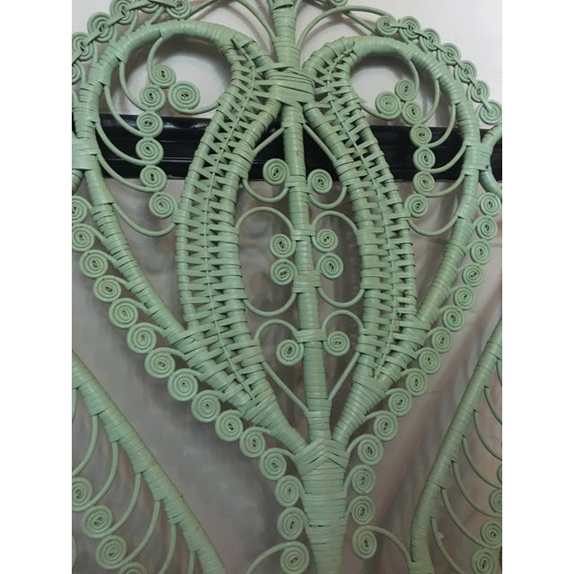 Vintage Peacock Twin Headboard. Painted a beautiful blue/green color. In excellent shape! Handcrafted in a peacock shape,...