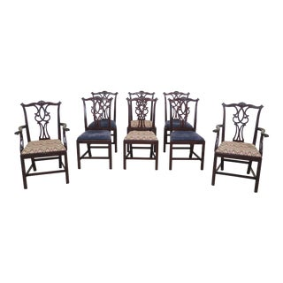 1980s Vintage Kittinger Richmond Hill Mahogany Chippendale Dining Chairs- Set of 8 For Sale