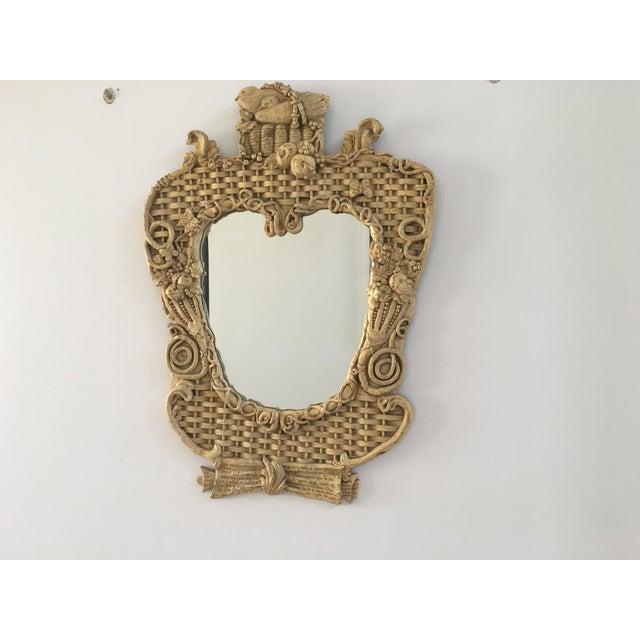 Mid-Century Basketweave Mirror For Sale - Image 4 of 6