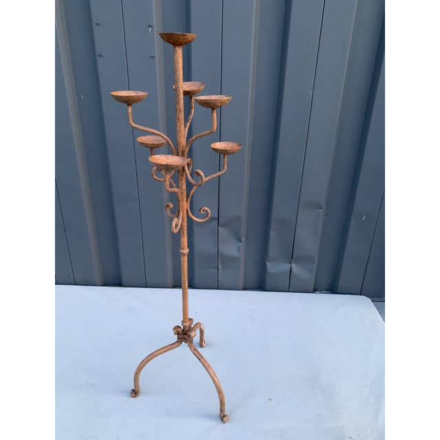 2000 - 2009 Brown Iron Candelabra For Sale - Image 5 of 5