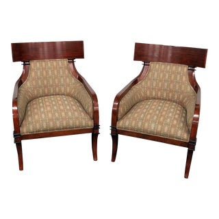 Biedermeier Style Tapestry Upholstered Club Chairs - a Pair For Sale