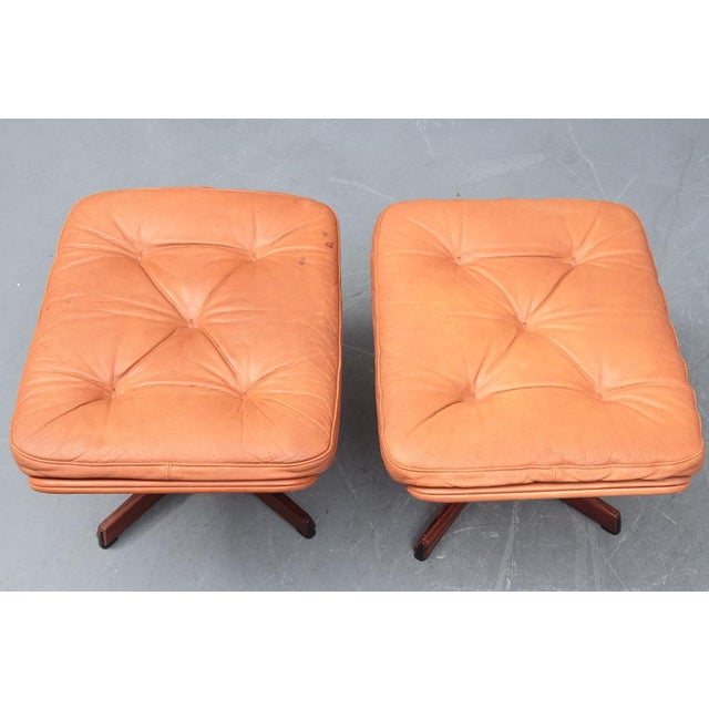 Danish Leather Swivel Chairs & Ottomans - A Pair For Sale - Image 10 of 11