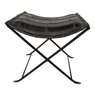 Black Modern Polished Leather Folding Footstool For Sale