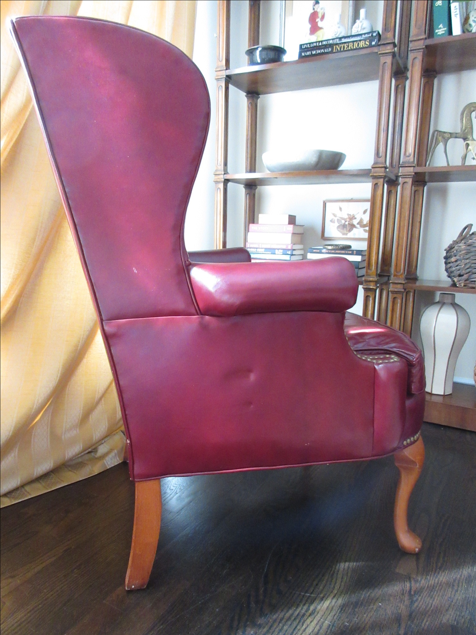 Beau Hickory Furniture Red Leather Wing Chair   Image 3 Of 11