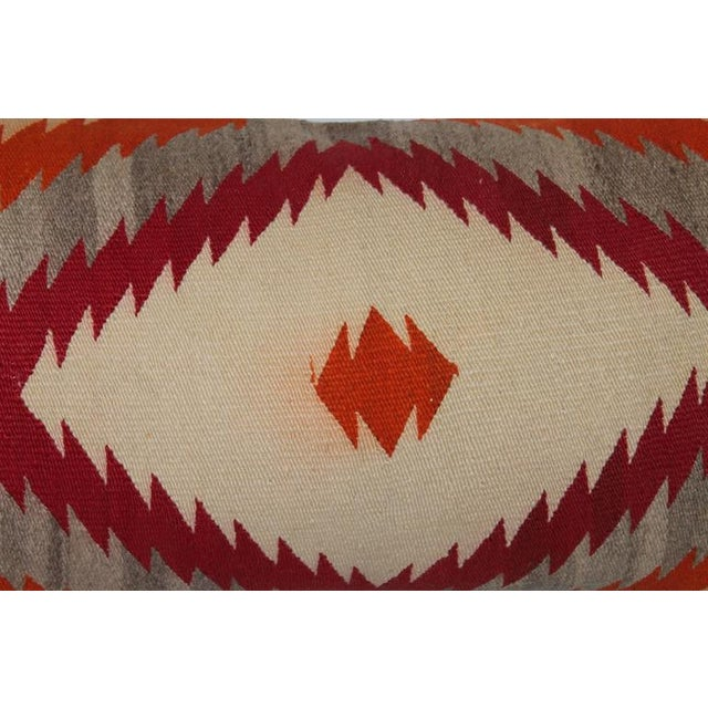 This amazing early 1900s Navajo weaving was a saddle blanket turned bolster pillow. The condition is good with minor...