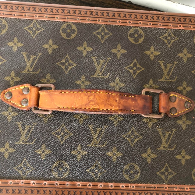 1980s French Louis Vuitton Canvas and Leather Train Case For Sale - Image 11 of 12