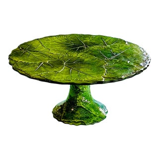 Vietri Faience Leaf Motif Cake Stand For Sale