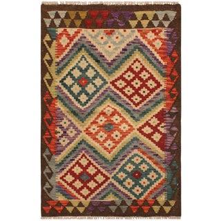 Fineas Ivory/Brown Hand-Woven Kilim Wool Rug -2'7 X 3'7