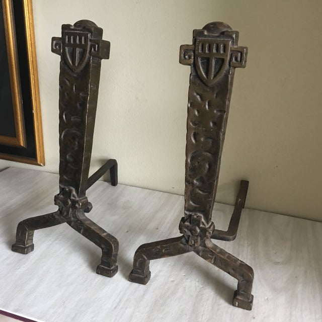 1930's Vintage Gothic Fireplace Andirons - a Pair - Image 3 of 5