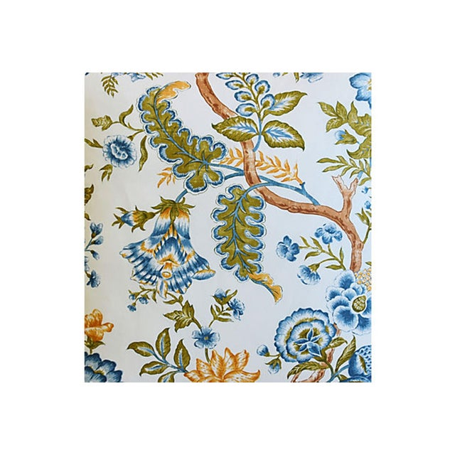 "Early 21st Century Clarence House Botanical Floral Tree of Life Fabric Feather/Down Pillow 22"" Square For Sale - Image 5 of 6"