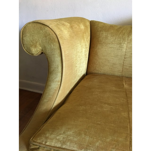Mid Century Modern Crushed Velvet Camelback Sofa For Sale - Image 11 of 11