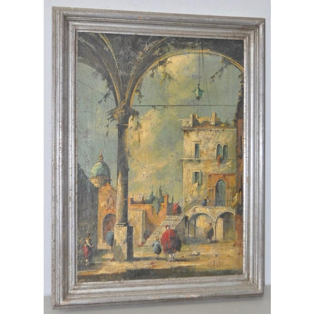 19th Century Italian School Oil Painting. Fine antique painting with Gothic architectural elements. Original oil on...