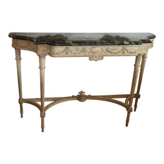 Adams Style Designer Console Table w Italian Marble Top
