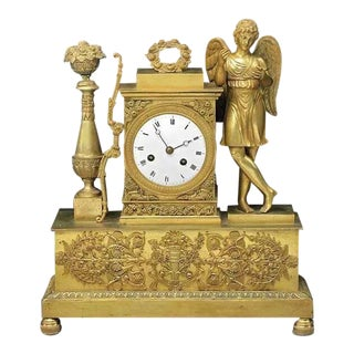 19th Century French Charles X Gilt Bronze Dore Figural Mantel Clock