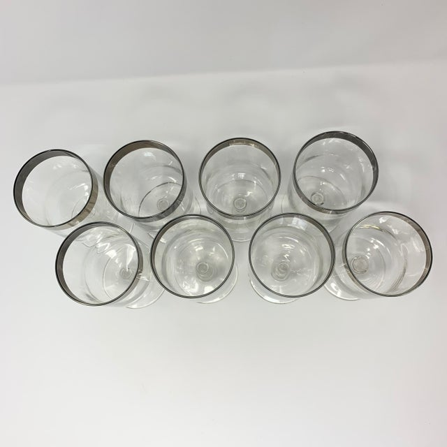 1950s Mid Century Dorothy Thorpe Silver Rim Wine Glasses - Set of 8 For Sale In New York - Image 6 of 10