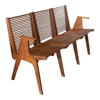 Pierre Jeanneret Style Mid-Century Wood Bench
