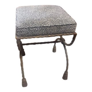 1960s Vintage Leopard Print Gilded Iron Stool For Sale